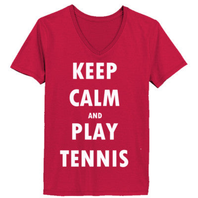 Keep Calm And Play Tennis - Ladies' V-Neck T-Shirt - Cool Jerseys - 1