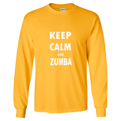 Keep Calm And Zumba - Long Sleeve T-Shirt S-Gold- Cool Jerseys - 1