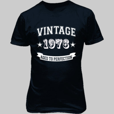 Vintage 1976 Aged To Perfection tshirt - Unisex T-Shirt FRONT Print S-Blue Dusk- Cool Jerseys - 1