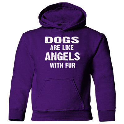 Dogs Are Like Angels With Fur Heavy Blend Children's Hooded Sweatshirt S-Purple- Cool Jerseys - 1