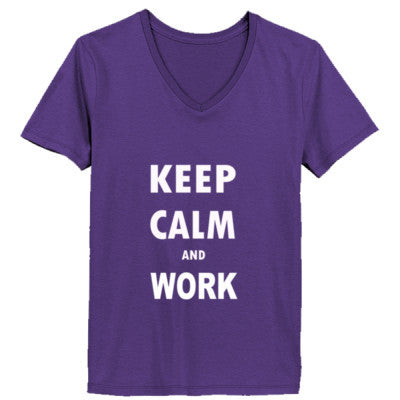 Keep Calm And Work - Ladies' V-Neck T-Shirt XS-Purple- Cool Jerseys - 1