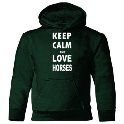 Keep Calm And Love Horses - Heavy Blend Children's Hooded Sweatshirt S-Forest Green- Cool Jerseys - 1
