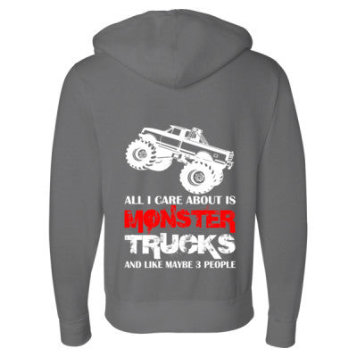 Cool Monster Truck Sweatshirt - Full-Zip Hooded Sweatshirt S-Solid Charcoal- Cool Jerseys - 1