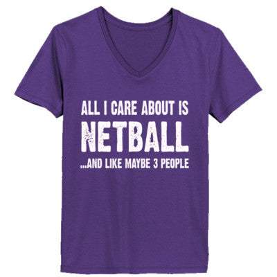 All i Care About Netball And Like Maybe Three People tshirt - Ladies' V-Neck T-Shirt XS-Purple- Cool Jerseys - 1