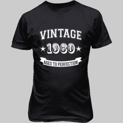 Vintage 1960 Aged To Perfection - Unisex T-Shirt FRONT Print S-Charcoal- Cool Jerseys - 1