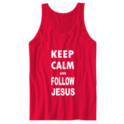 Keep Calm And Follow Jesus - Unisex Jersey Tank S-Red- Cool Jerseys - 1