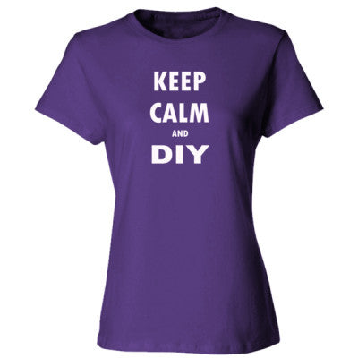 Keep Calm And DIY - Ladies' Cotton T-Shirt S-Purple- Cool Jerseys - 1