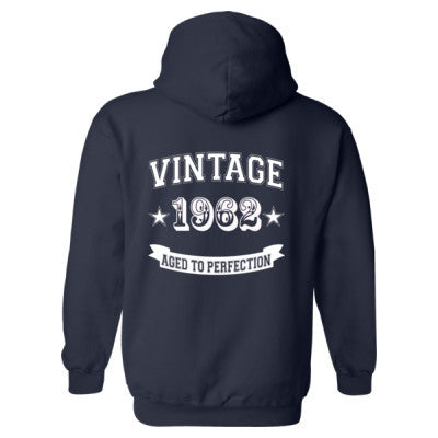Vintage 1962 Aged To Perfection - Heavy Blend™ Hooded Sweatshirt BACK ONLY S-Navy- Cool Jerseys - 1