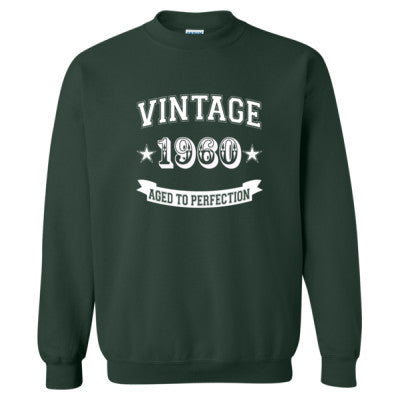 Vintage 1960 Aged To Perfection - Heavy Blend™ Crewneck Sweatshirt S-Forest- Cool Jerseys - 1