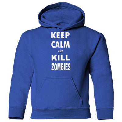 Keep Calm And Kill Zombies - Heavy Blend Children's Hooded Sweatshirt S-Royal- Cool Jerseys - 1