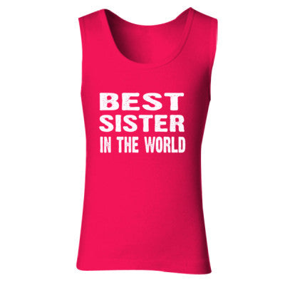Best Sister In The World - Ladies' Soft Style Tank Top S-Cherry Red- Cool Jerseys - 1