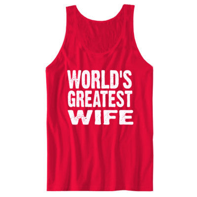 Worlds Greatest Wife - Unisex Jersey Tank S-Red- Cool Jerseys - 1