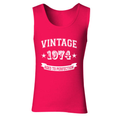 Vintage 1974 Aged To Perfection tshirt - Ladies' Soft Style Tank Top S-Cherry Red- Cool Jerseys - 1