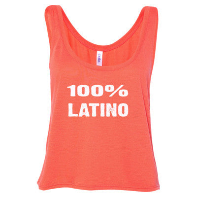 100% Latino tshirt - Ladies' Cropped Tank Top S-Coral- Cool Jerseys - 1