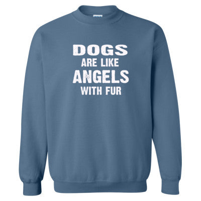 Dogs Are Like Angels With Fur Tshirt - Heavy Blend™ Crewneck Sweatshirt S-Indigo Blue- Cool Jerseys - 1