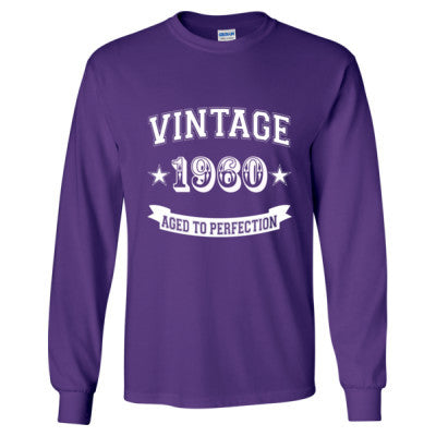 Vintage 1960 Aged To Perfection - Long Sleeve T-Shirt S-Purple- Cool Jerseys - 1