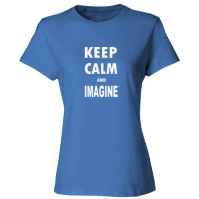 Keep Calm And Imagine - Ladies' Cotton T-Shirt S-Carolina Blue- Cool Jerseys - 1