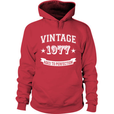 Vintage 1977 Aged To Perfection Hoodie S-Cardinal Red- Cool Jerseys - 1