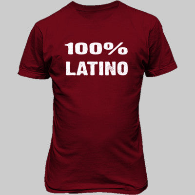 100% Latino tshirt - Unisex T-Shirt FRONT Print S-Cardinal Red- Cool Jerseys - 1