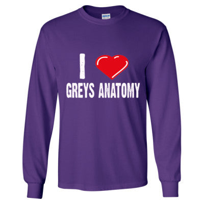 I Love Grey's Anatomy Shirts - Long Sleeve T-Shirt S-Purple- Cool Jerseys - 1