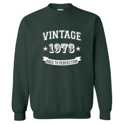 Vintage 1973 Aged To Perfection tshirt - Heavy Blend™ Crewneck Sweatshirt S-Forest- Cool Jerseys - 1