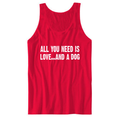 All you need is love and a dog tshirt - Unisex Jersey Tank - Cool Jerseys - 1