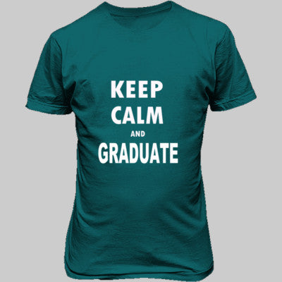 Keep Calm And Graduate - Unisex T-Shirt FRONT Print S-Galapogos Blue- Cool Jerseys - 1