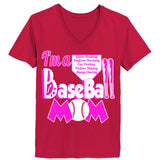 Baseball Mom Tee - Ladies' V-Neck T-Shirt XS-Deep Red- Cool Jerseys - 3