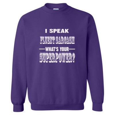 I Speak Fluent Sarcasm - Heavy Blend™ Crewneck Sweatshirt S-Purple- Cool Jerseys - 1