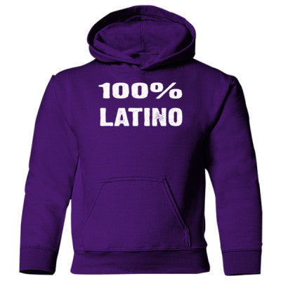 100% Latino Heavy Blend Children's Hooded Sweatshirt S-Purple- Cool Jerseys - 1