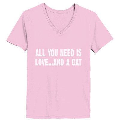 All you need is love and a cat tshirt - Ladies' V-Neck T-Shirt XS-Pale Pink- Cool Jerseys - 1