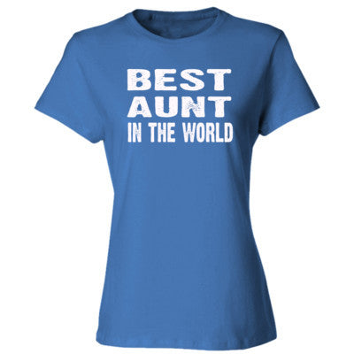 Best Aunt In The World - Ladies' Cotton T-Shirt S-Carolina Blue- Cool Jerseys - 1