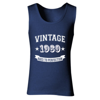 Vintage 1960 Aged To Perfection - Ladies' Soft Style Tank Top S-Navy- Cool Jerseys - 1