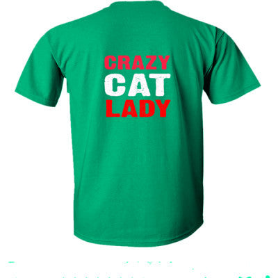 Crazy Cat Lady tshirt - Ultra-Cotton T-Shirt Back Print Only S-Kelly Green- Cool Jerseys - 1