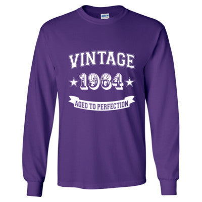 Vintage 1964 Aged To Perfection - Long Sleeve T-Shirt S-Purple- Cool Jerseys - 1