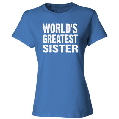 Worlds Greatest Sister - Ladies' Cotton T-Shirt S-Carolina Blue- Cool Jerseys - 1