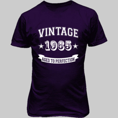 Vintage 1965 Aged To Perfection - Unisex T-Shirt FRONT Print S-Purple- Cool Jerseys - 1