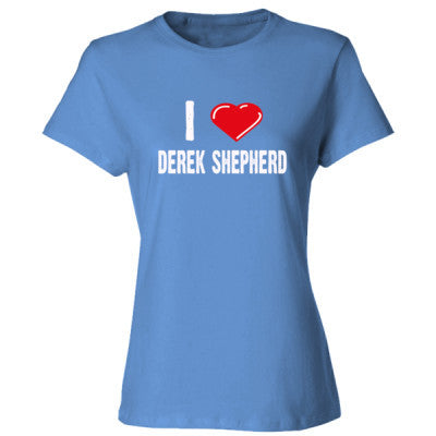 I love Derek Shepherd tshirt - Ladies' Cotton T-Shirt S-Carolina Blue- Cool Jerseys - 1