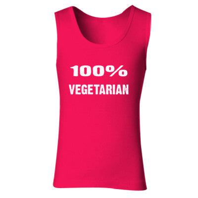 100% Vegetarian tshirt - Ladies' Soft Style Tank Top S-Cherry Red- Cool Jerseys - 1