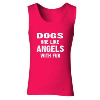 Dogs Are Like Angels With Fur Tshirt - Ladies' Soft Style Tank Top S-Cherry Red- Cool Jerseys - 1