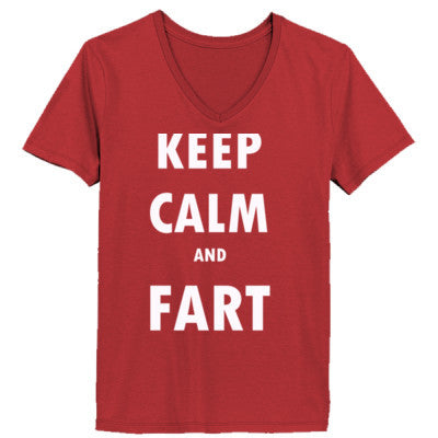 Keep Calm And Fart - Ladies' V-Neck T-Shirt - Cool Jerseys - 1