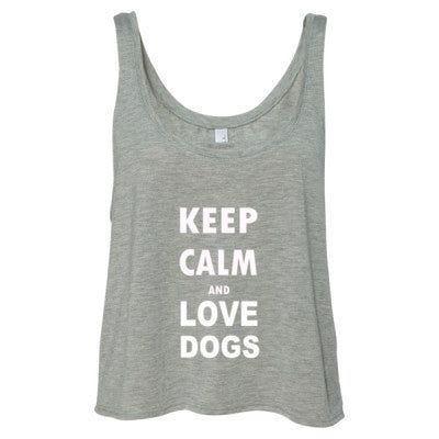 Keep Calm And Love Dogs - Ladies' Cropped Tank Top S-Athletic Heather- Cool Jerseys - 1