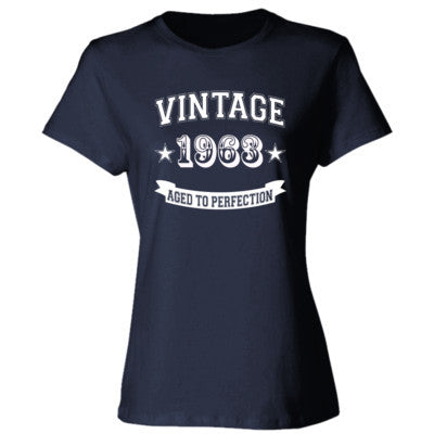 Vintage 1963 Aged To Perfection - Ladies' Cotton T-Shirt S-Deep Navy- Cool Jerseys - 1