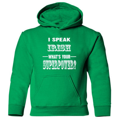 I Speak Irish - Heavy Blend Children's Hooded Sweatshirt S-Irish Green- Cool Jerseys - 1