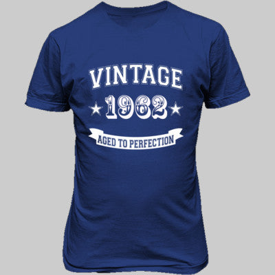 Vintage 1962 Aged To Perfection - Unisex T-Shirt FRONT Print S-Royal- Cool Jerseys - 1