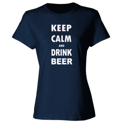 Keep Calm And Drink Beer - Ladies' Cotton T-Shirt S-Navy- Cool Jerseys - 1