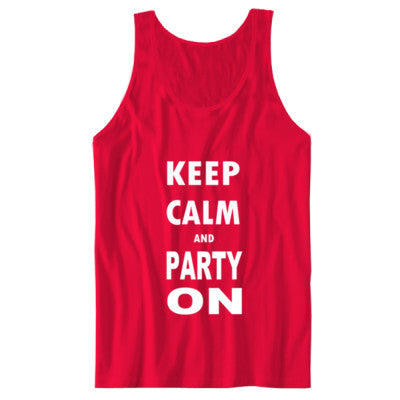 Keep Calm And Party On - Unisex Jersey Tank S-Red- Cool Jerseys - 1