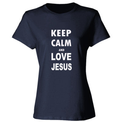 Keep Calm And Love Jesus - Ladies' Cotton T-Shirt S-Deep Navy- Cool Jerseys - 1