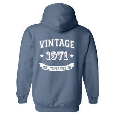 Vintage 1971 Aged To Perfection tshirt - Heavy Blend™ Hooded Sweatshirt BACK ONLY S-Indigo Blue- Cool Jerseys - 1