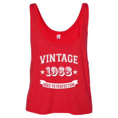 Vintage 1968 Aged To Perfection - Ladies' Cropped Tank Top S-Red- Cool Jerseys - 1